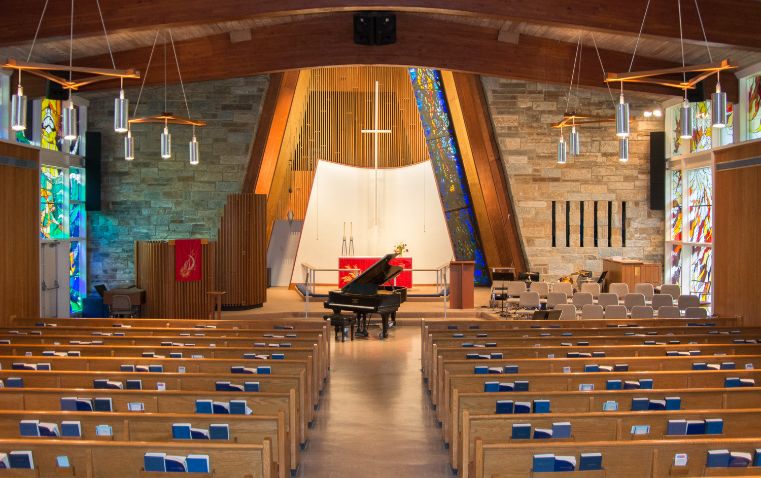 Our Sanctuary, which is a popular venue for concerts, recitals, and performances, weddings and funerals. Seating: approx. 300 people.